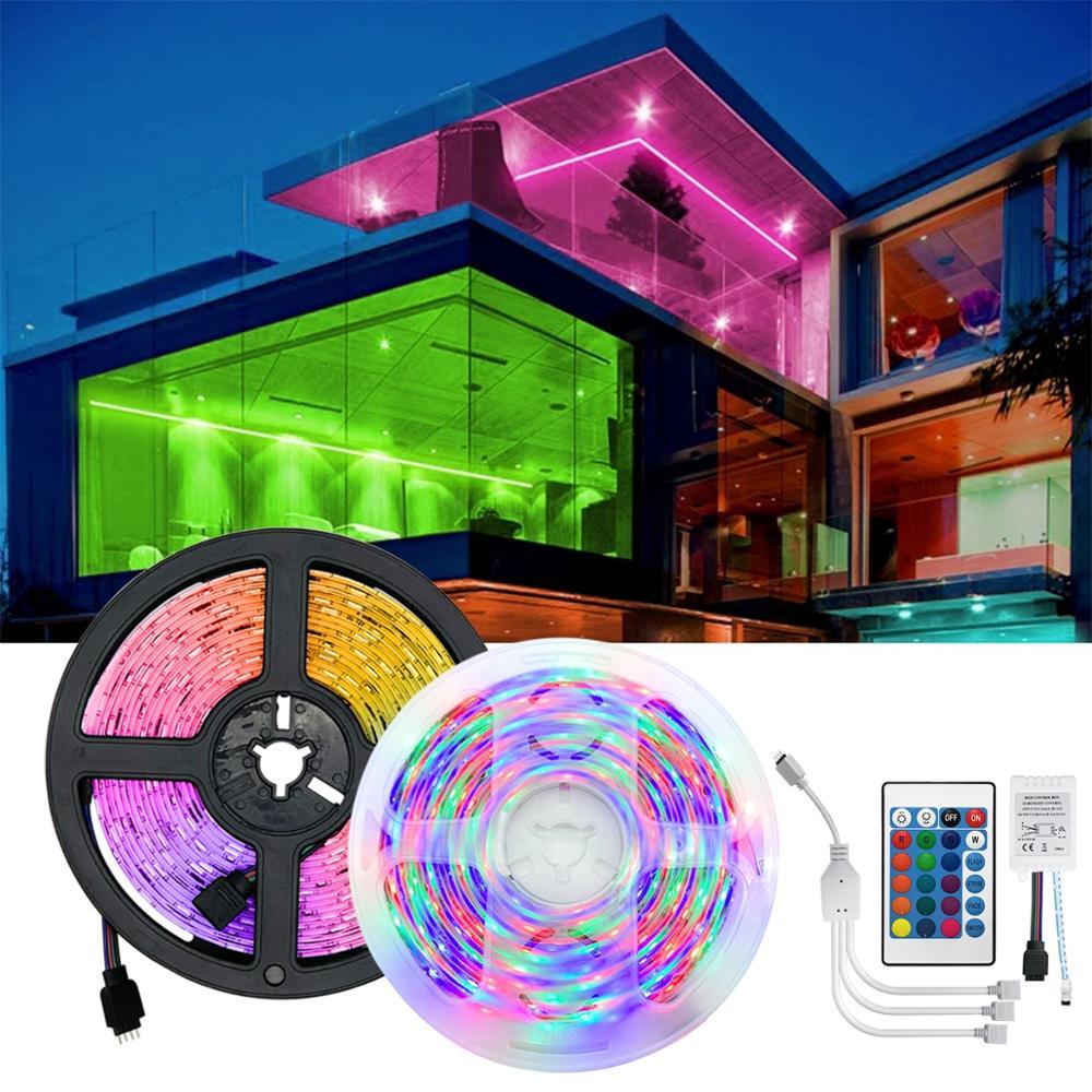5m 10m 15m LED Strip Lights rgb waterproof led strip 12v DC RGB String with remote control lights for room