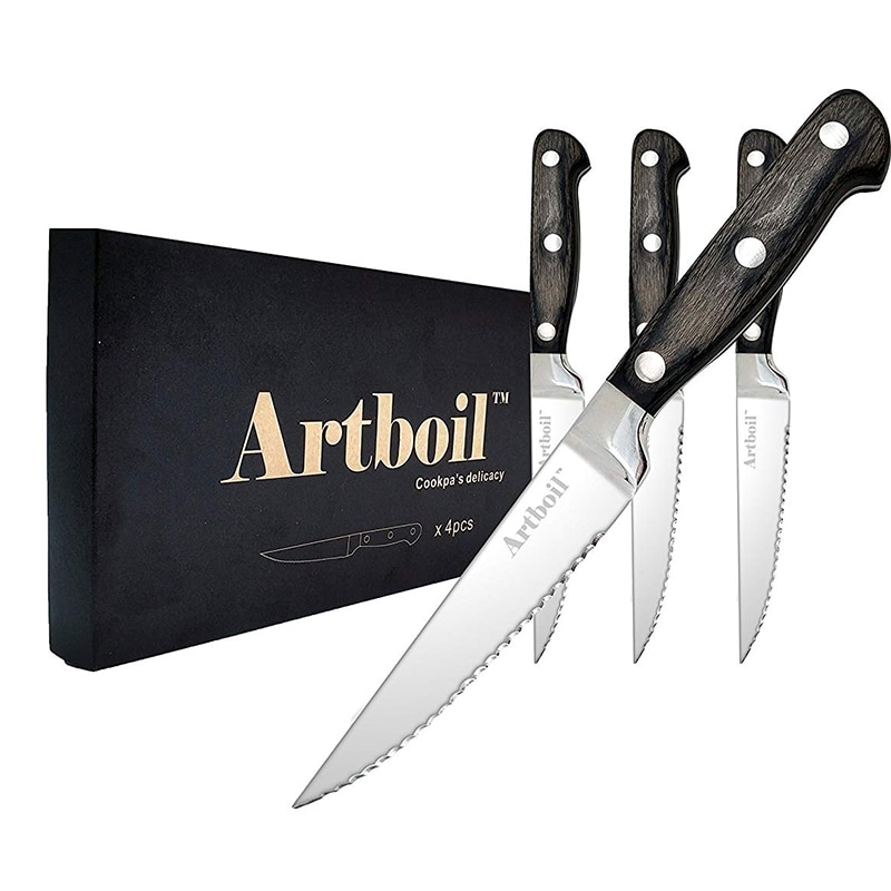 Juego de 4 cuchillos para carne, cuchillo de filete dentado de corte limpio Premium de acero inoxidable, mango de espiga completo de madera Pakka