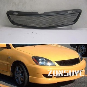 Use For Mitsubishi Lancer 2006 2007 Year Carbon Fibre Refitt Front Center Racing Grille Cover Accessorie Body Kit Zonsuve