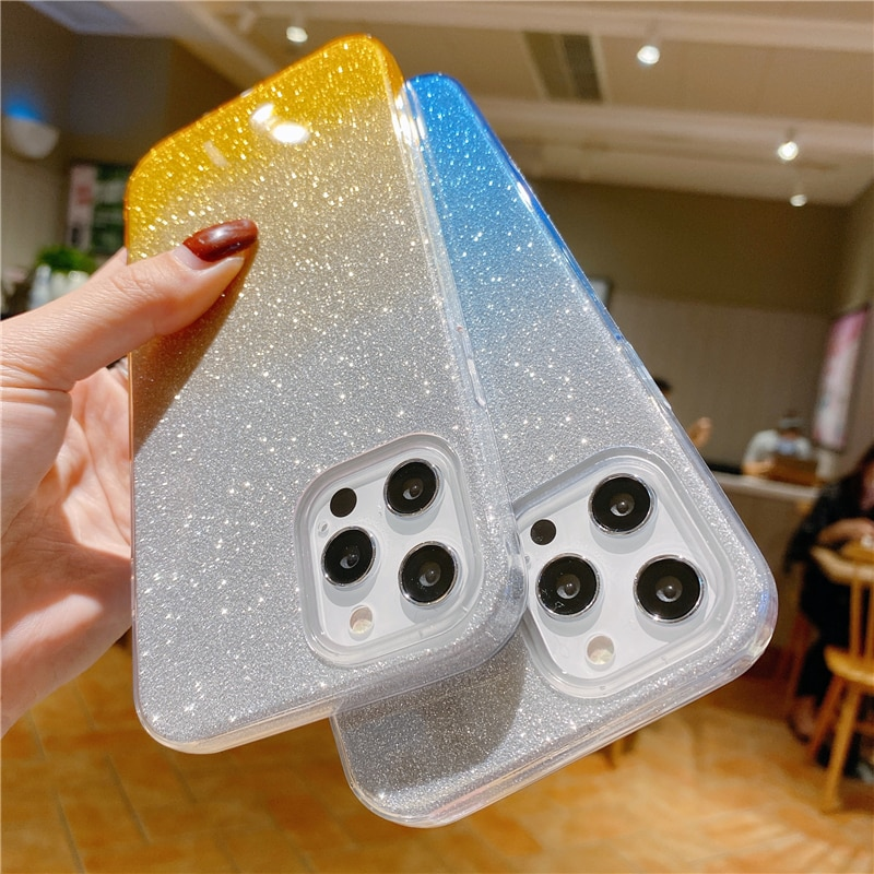 3 IN 1 Gradient Glitter Bling Phone Case For iPhone 12 Mini 11 Pro XS Max X 6 6S 7 8 Plus SE 2020 Shockproof PC+TPU Back Cover