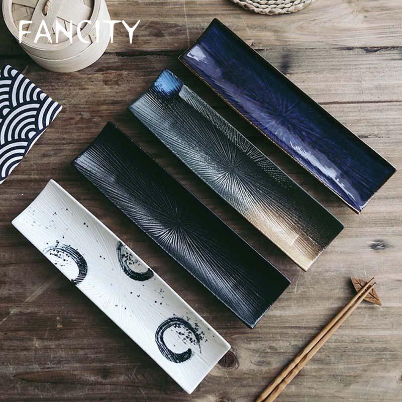 FANCITYSushi لوحة السيراميك مستطيلة لوحة الإبداعية اليابانية المطبخ المعجنات لوحة رسمت باليد طويل الساشيمي لوحة الصوري لوحة