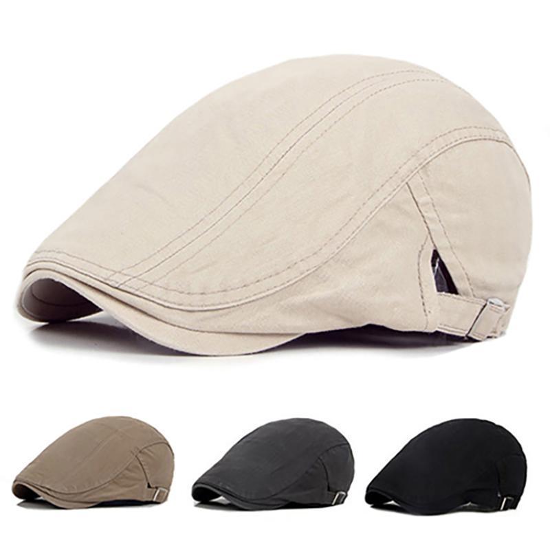 Men Casual Classic Solid Color Flat Cabbie Newsboy Ivy Hat Cotton Sun Beret Cap