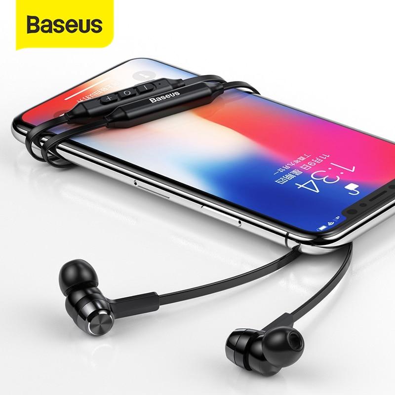 Baseus-Auriculares S06 inalámbricos con Bluetooth, dispositivo con banda para el cuello, para Xiaomi y iPhone, estéreo, con micrófono