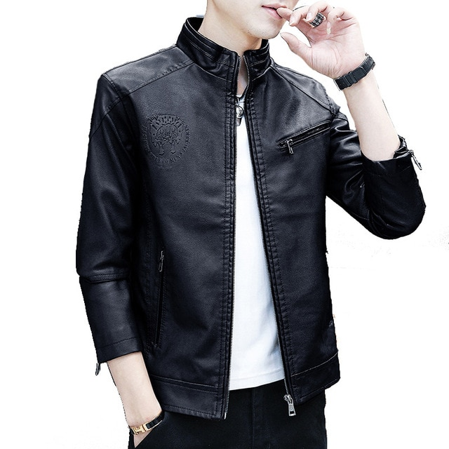 New Spring and Autumn Zipper-Pockets Jacket 2020 Men's Korean Version Slim-fitting Stand-up PU Leather Jacket 8