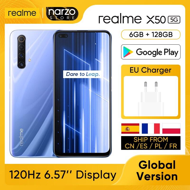 Перейти на Алиэкспресс и купить Смартфон глобальная версия Realme X50 X 50, 6 ГБ, 128 ГБ, Snapdragon 76, 6,57 дюйма, 120 Гц, ультра дисплей, четыре задних камеры 48 МП, зарядка 30 Вт