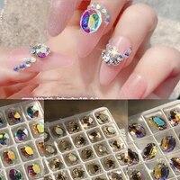 20pcs 8x10mm oval clear ab rhinestones crystal glass 3d nail art charming crystal nail art diamond sharp botton nail gem 8x10