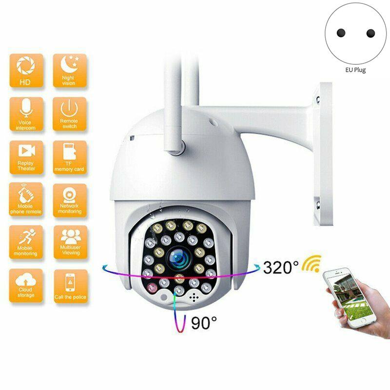 Cámara de seguridad con 23 ledes WIFI, cámara IP para exteriores PTZ 1080P, cámara de seguridad CCTV con domo de velocidad 2MP, visión nocturna IR, para vigilancia del hogar, enchufe europeo