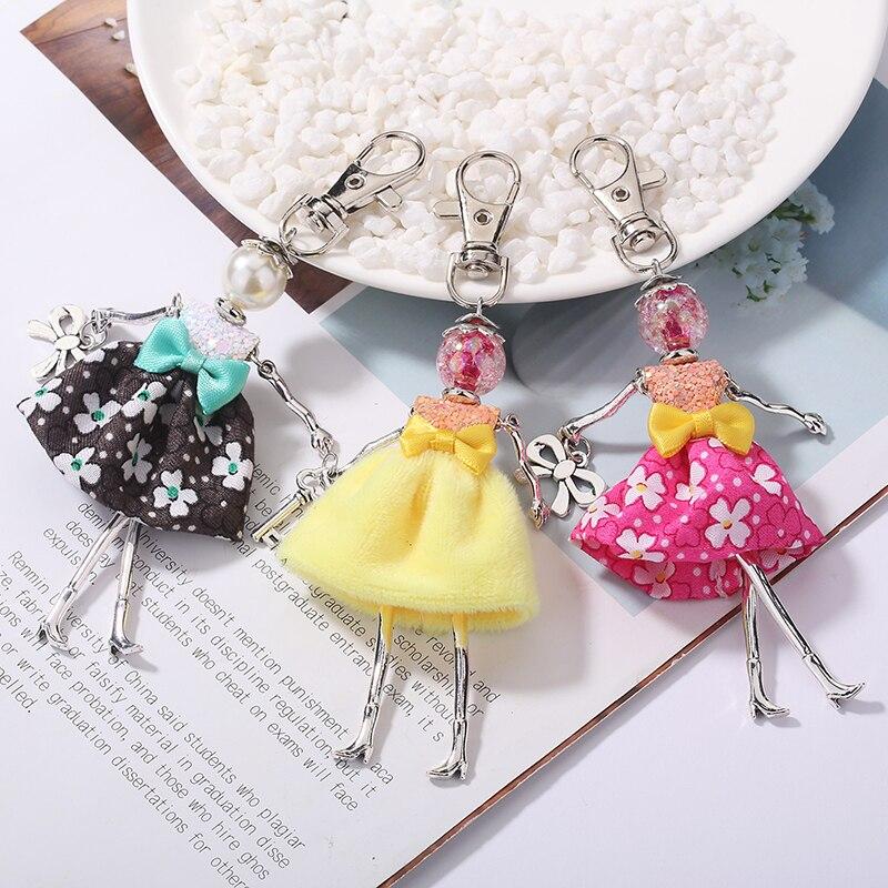 YLWHJJ brand 2020 new Doll baby cute Women keychain Car Pendant Girls Handmade fashion Jewelry Bag key chains hot key ring
