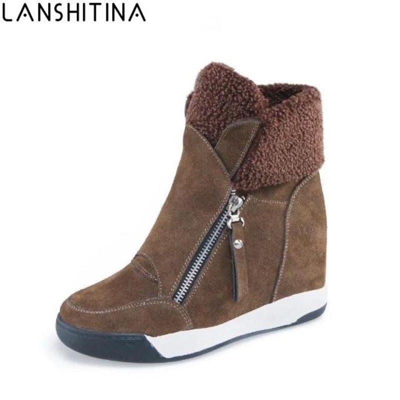 2020 Fashion Women Casual Shoes Winter Platform Wedge Ankle Boots Height Increasing Flock Sneakers Warm Fur Zipper Snow Boots women winter boots new winter women snow boots australia boots casual fur warm boots women shoes 2018 fashion flats boots shoes