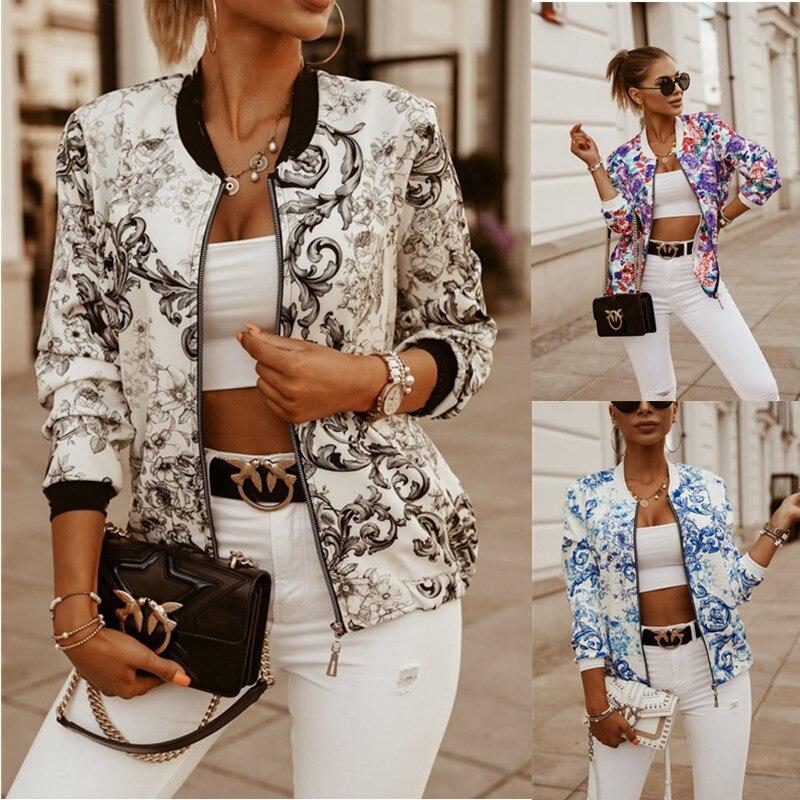 Leosoxs Flower Print Long Sleeve Women's Bomber Jacket Fashion Zipper Up Vintage Coat Tops Elegant S