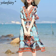 100% robe en soie véritable femmes robe dété dames Vintage Boho plage robes robe De soirée florale Vestidos De Verano 2020 833774