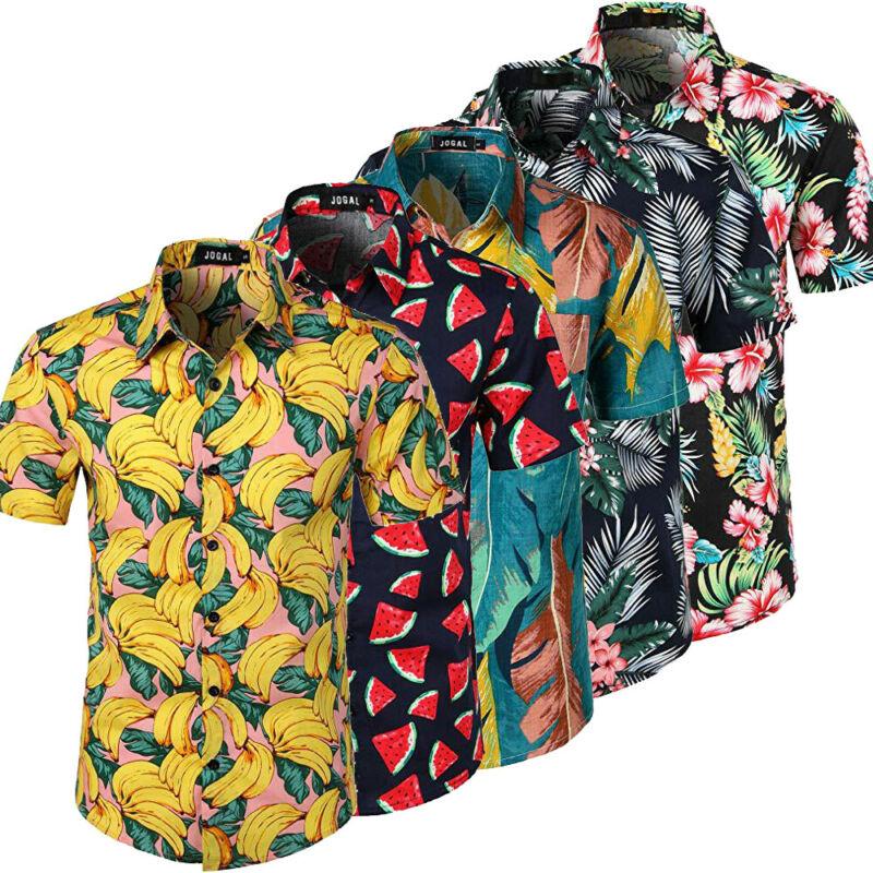 Men Hawaiian Summer Floral Printed Beach Sea Short Sleeve Luau Shirt Tops Blouse