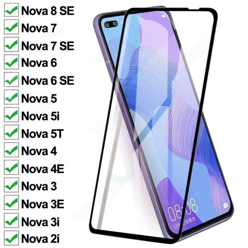 Защитное стекло 11D для Huawei Nova 6 7 8 SE Nova5 5i 5T, защитная пленка для экрана nova 4, 4E, 3, 3E, 3i, 2i, чехол из закаленного стекла
