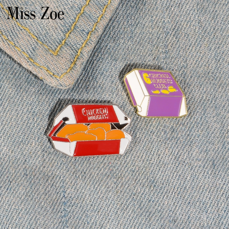 Chicken Nuggets Enamel Pin Custom Food Brooches Bag Clothes Lapel Pin Button Badge Cartoon Jewelry G