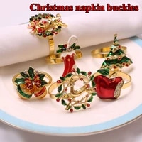 metal christmas tree napkin buckle xmas bow flower wreath mouth ring wedding banquet hotel table supplies circle decoration gift