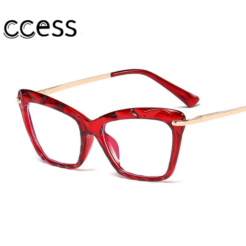 Vintage Red Cat Eye Sunglasses Metal Frames Anti-Radiation Eyewear Optical Computer Spectacle Crysta