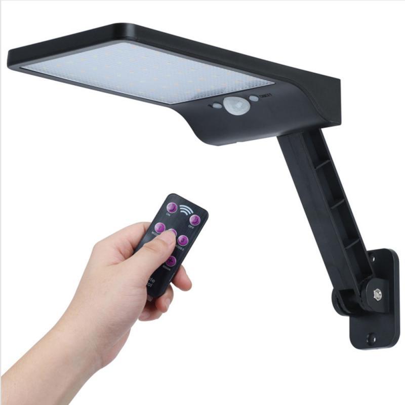 Solar 48 LED Street Wall Light PIR Motion Sensor Outdoor Garden Dimmable Lamp 3 Mode Waterproof with Bracket