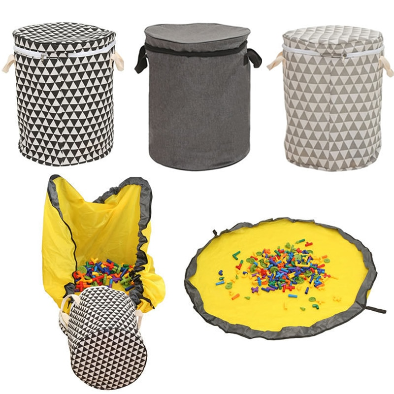 حقيبة تخزين محمولة لألعاب الأطفال ، مع سحاب ، وسلة غسيل مقاومة للماء ، ودلو تخزين للألعاب