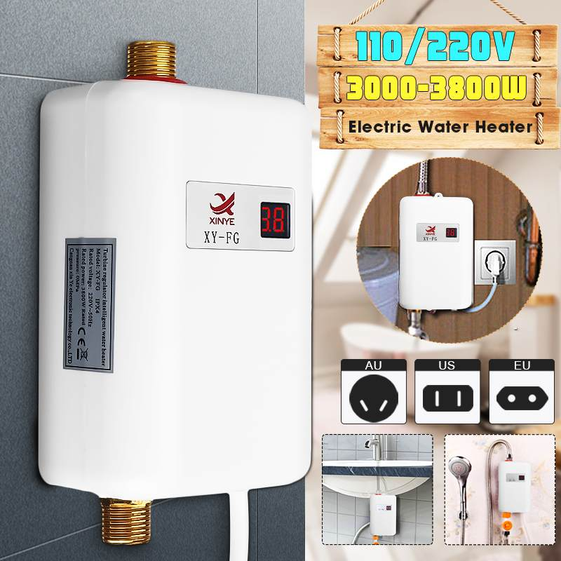 3800W Mini Tankless LCD Digital Water Heater Instant Hot Faucet kitchen Heating Thermostat Intellige