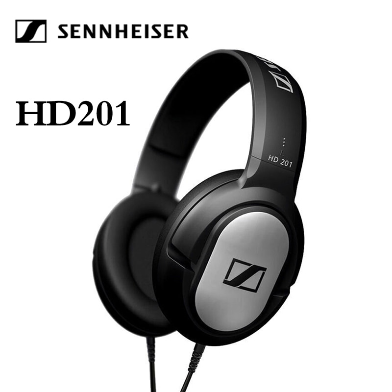 Sennheiser-سماعة رأس سلكية HD201 ، لأجهزة iPhone/Samsung ، تقليل الضوضاء ، سماعة رأس رياضية للألعاب ، ستيريو ، جهير ، 3.5 مللي متر