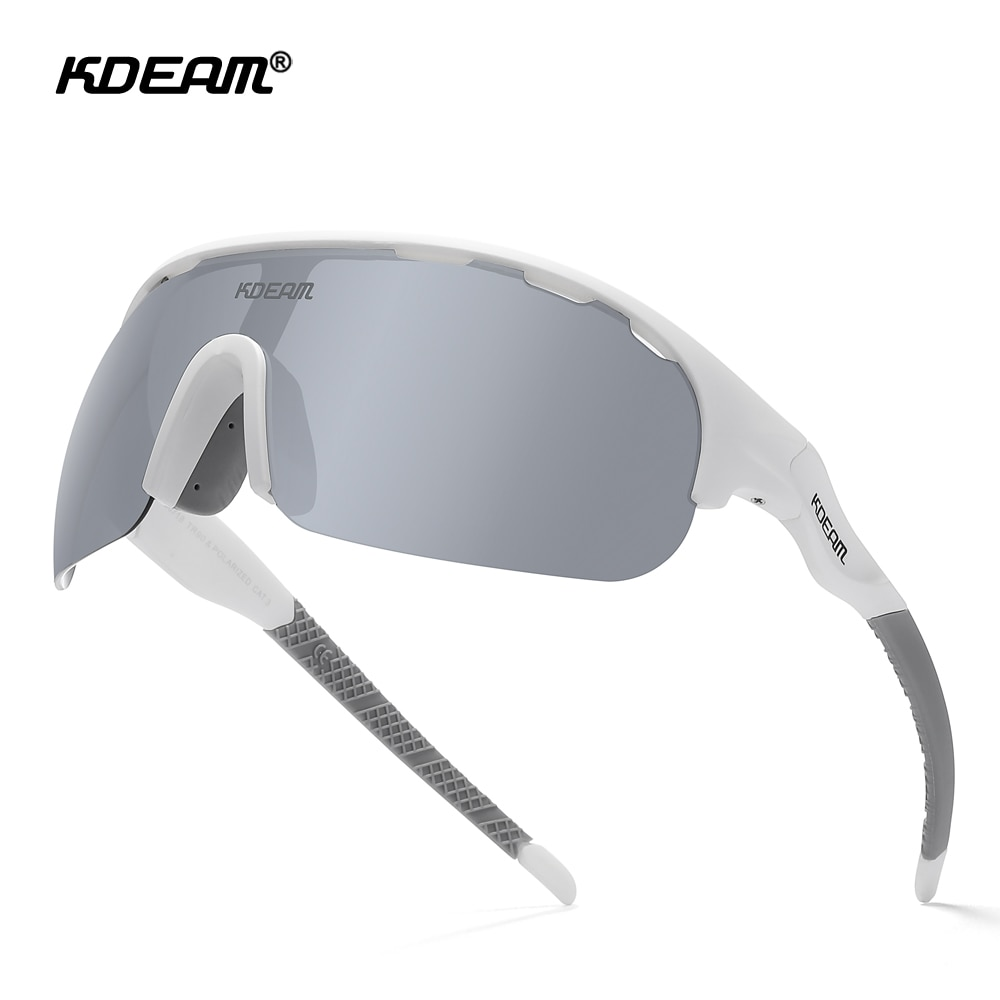 KDEAM Large Size Sports Sunglasses Men Polarized 1.2mm Thickness Lens Outdoor Goggles Reduce Wind Re