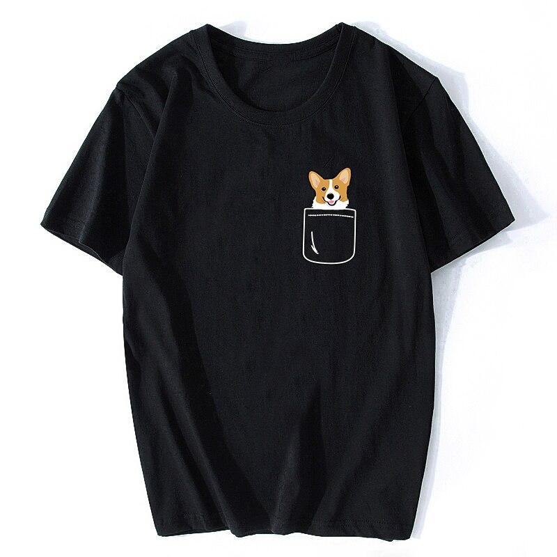 Corgi no bolso engraçado bonito filhote de cachorro grande sorriso feliz casual harajuku streetwear roupas de verão t camisas algodão o-pescoço camisetas topos
