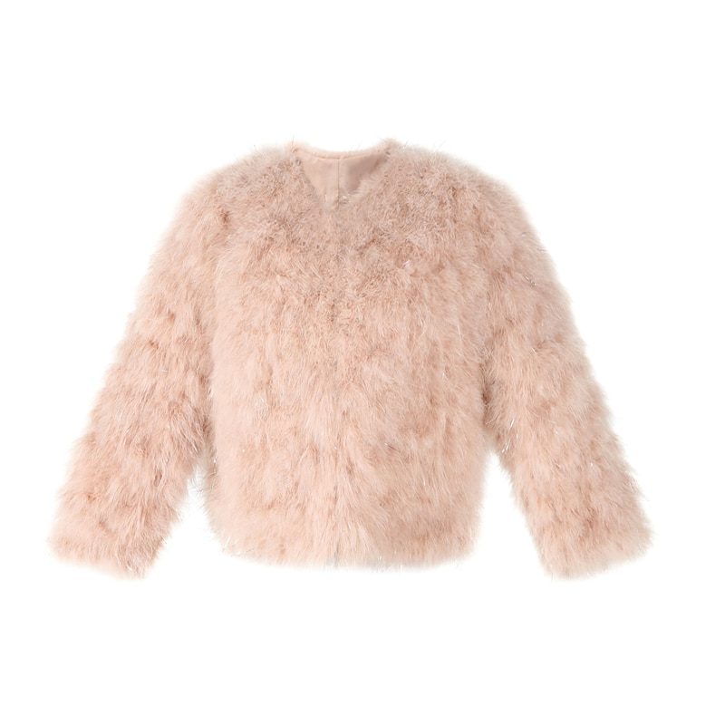 Real Fur Coat Women Fashion Fur Coats Winter Real Ostrich Fur Jackets Natural Turkey Feather Fluffy Outerwear Lady C418-1
