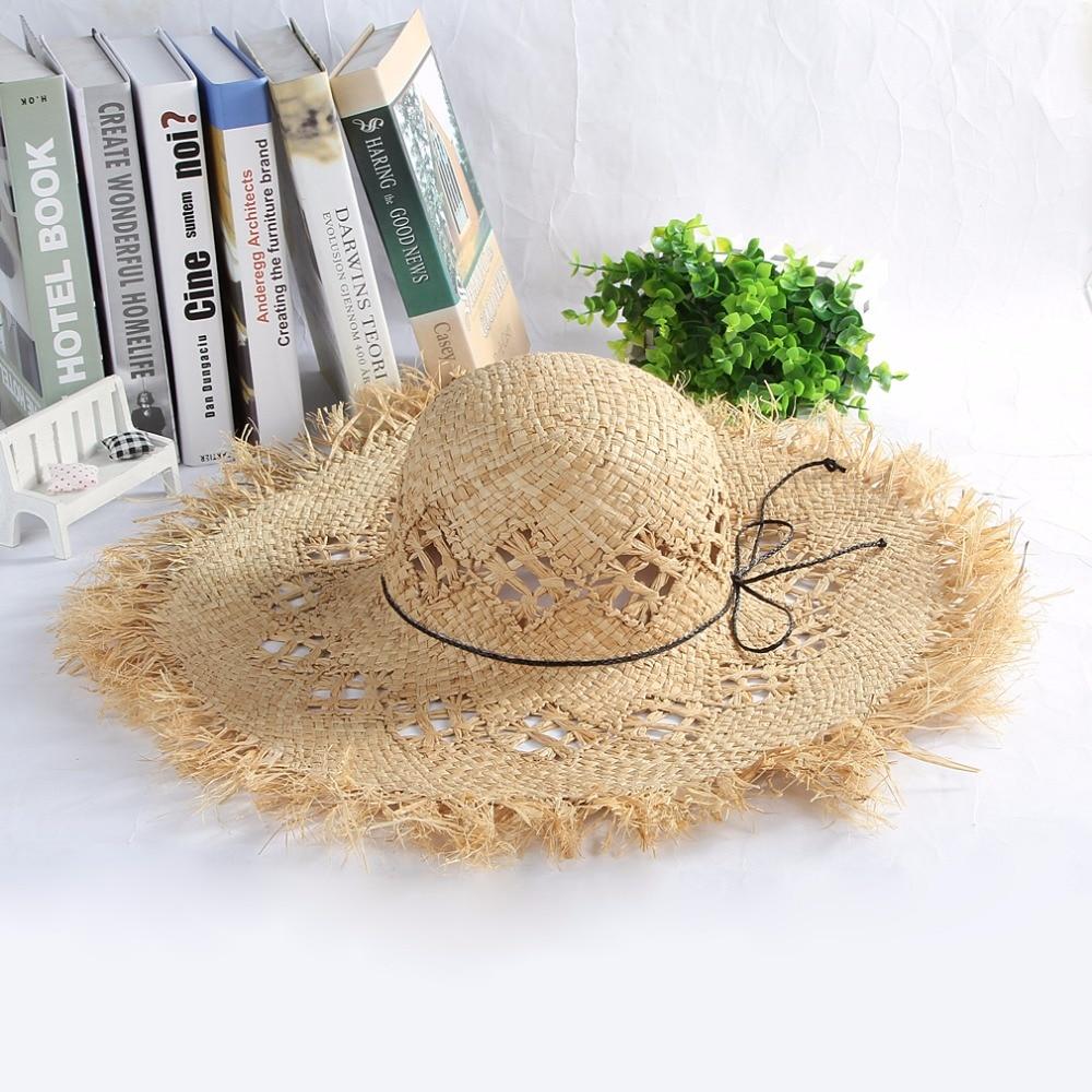 Sombrero novedad de verano moda mano de punto crudo borde grandes aleros de rafia sombrero de paja turismo al aire libre sombra de sol playa sombrero de paja sombrero con viseras