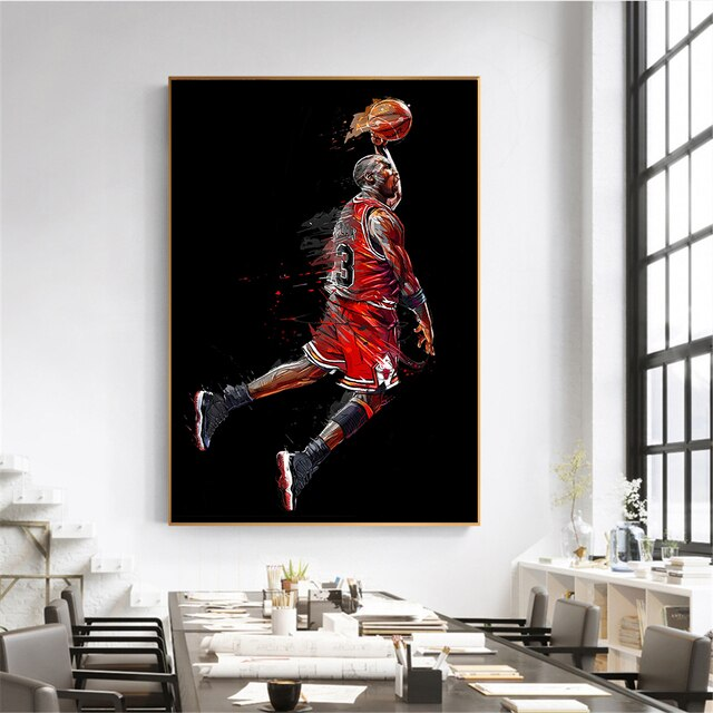 Modern Canvas Art Painting Michael Jordan Poster Fly Dunk Basketball Wall Pictures for Living Room Interior Bedroom Decoration 2