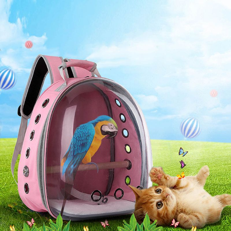 High Quality Pet Parrot Carrier Bird Travel Bag Space Capsule Transparent Backpack Breathable 360° Sightseeing