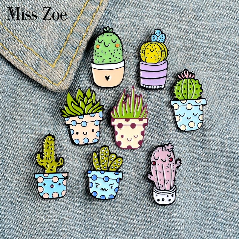 8Styles Potted Plant Enamel Pins Custom Cactus Aloe Brooches Lapel Pin Shirt Bag Catoon Badge Natura