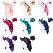1 Pcs Hair Care Cap Solid Color Satin Sleep Cap Long Hair Shower Cap Soft Elastic Bonnet Soft Bow Kn