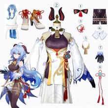 Genshin Impact Ganyu คอสเพลย์อะนิเมะฮาโลวีนชุดแฟนซีผู้หญิงเซ็กซี่ชุดวิกผมรองเท้า Horns Props เกมชุด