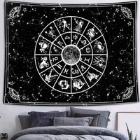 simsant gothic skull tapestry starry sky moon stars black and white mountain romantic constellation wall hanging blanket decor