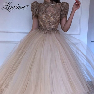 Lace Beading Dubai Evening Dresses Short Sleeves Middle East Arabic Sequins Party Gown For Weddings 2020 Women Prom Evening Wear