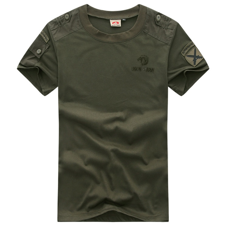 Camiseta de manga corta de estilo militar para hombre, camiseta de verano verde militar de combate táctico de talla grande, camiseta informal, Camiseta con cuello redondo para hombre