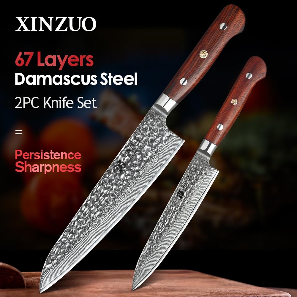 XINZUO 2 قطعة سكين مطبخ مجموعة دمشق الصلب السكاكين أدوات التقشير فائدة Santoku الشيف التقطيع الخبز اكسسوارات المطبخ أدوات