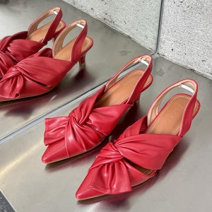 2021 Women Spring Slingback Sandals Low Heel Pumps Shoes Bow-knot Elegant Pointed Toe Wedding Party Ladies Shoes Zapatos Mujer