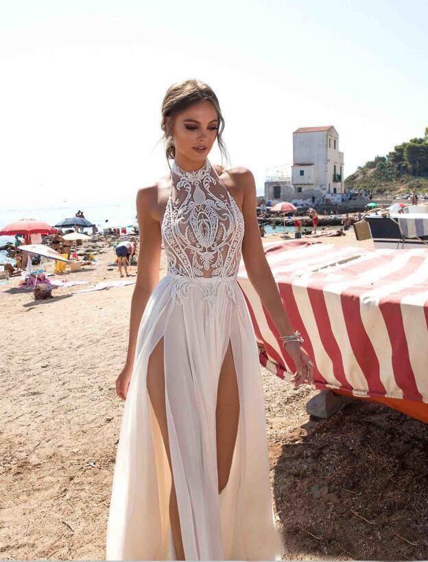 2019 Berta Sexy Backless Beach Wedding Dress Boho A Line High Neck Sleeveless Side Slit Cheap Bohemian Bridal Party Dresses