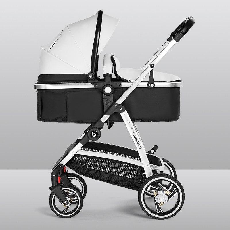 عربة أطفال حديثي الولادة يمكن أن تجلس وتكذب الأطفال خفيفة الوزن قابلة للطي في اتجاهين الصيف عالية المناظر الطبيعية الصيف الجلود عربة أطفال