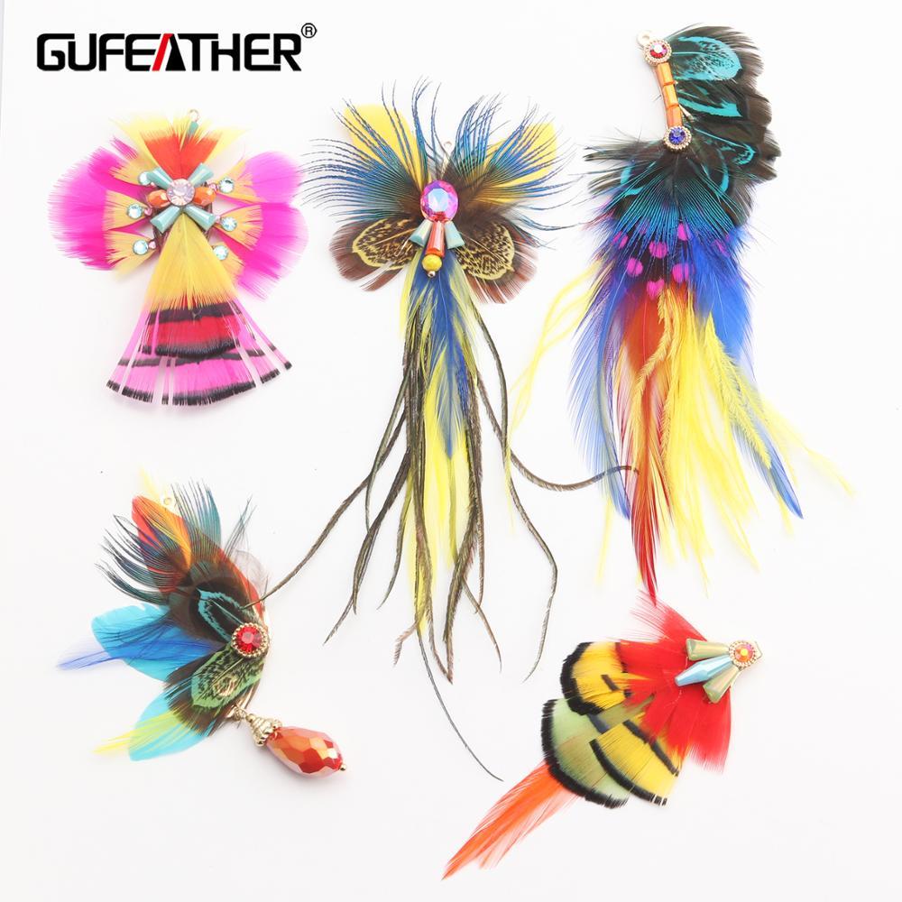 Gufeather m514, acessórios de jóias, brincos de penas reais, brincos de tendência ultraleve, feitos à mão, descobertas de jóias, jóias diy, 2 peças