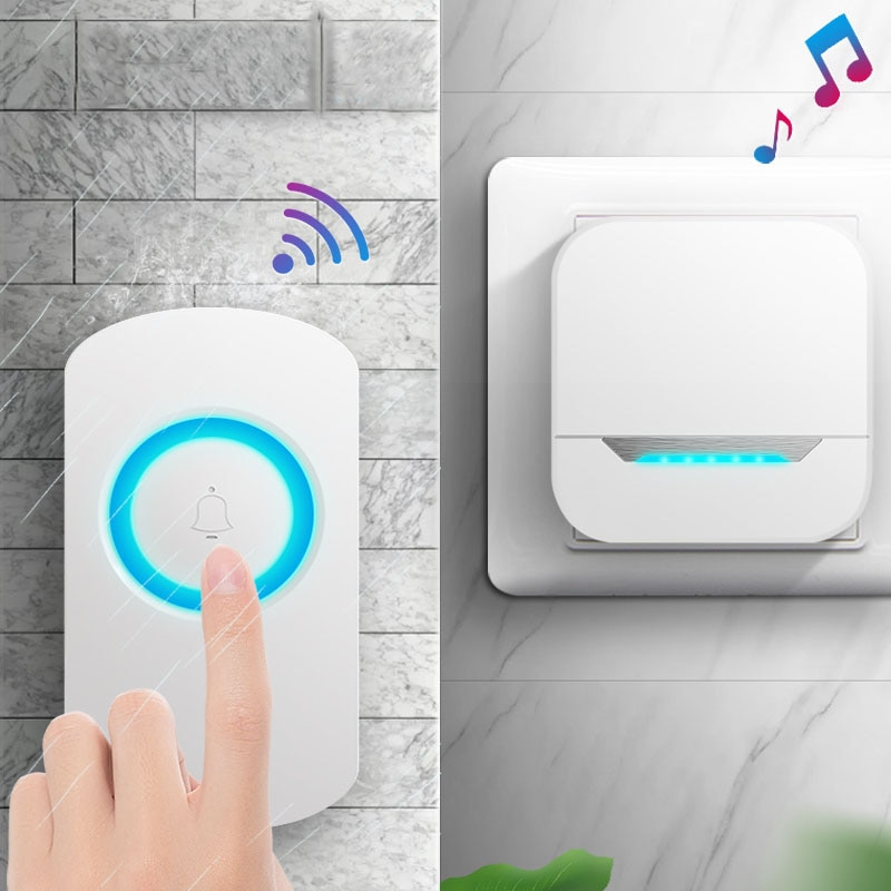 IP55 Waterproof Door Bell Home Security Welcome Black/White UK/US/EU Plug Receiver For Residential O
