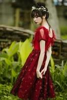 princess sweet lolita dress slash neck red sweet embroidery medium length lace chiffon dress in summer fashion women hjs023
