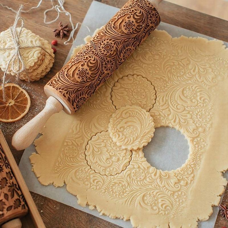 Ciervo de Navidad rodillo de madera en relieve para hornear galletas fideos, galleta Fondant pastel masa rodillo con dibujos copo de nieve