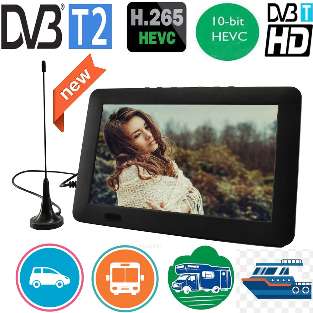 Leadstar 9 بوصة المحمولة التلفزيون مع DVB-T-T2 Hevc 10Bit 16:9 800*480 HD الرقمية البسيطة التلفزيون اللون التلفزيون لاعب للمنزل سيارة