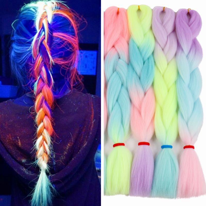 Омбре светящиеся Роскошные Большие синтетические косы Florescent сверкающие волосы в темноте 24 дюйма 100 г