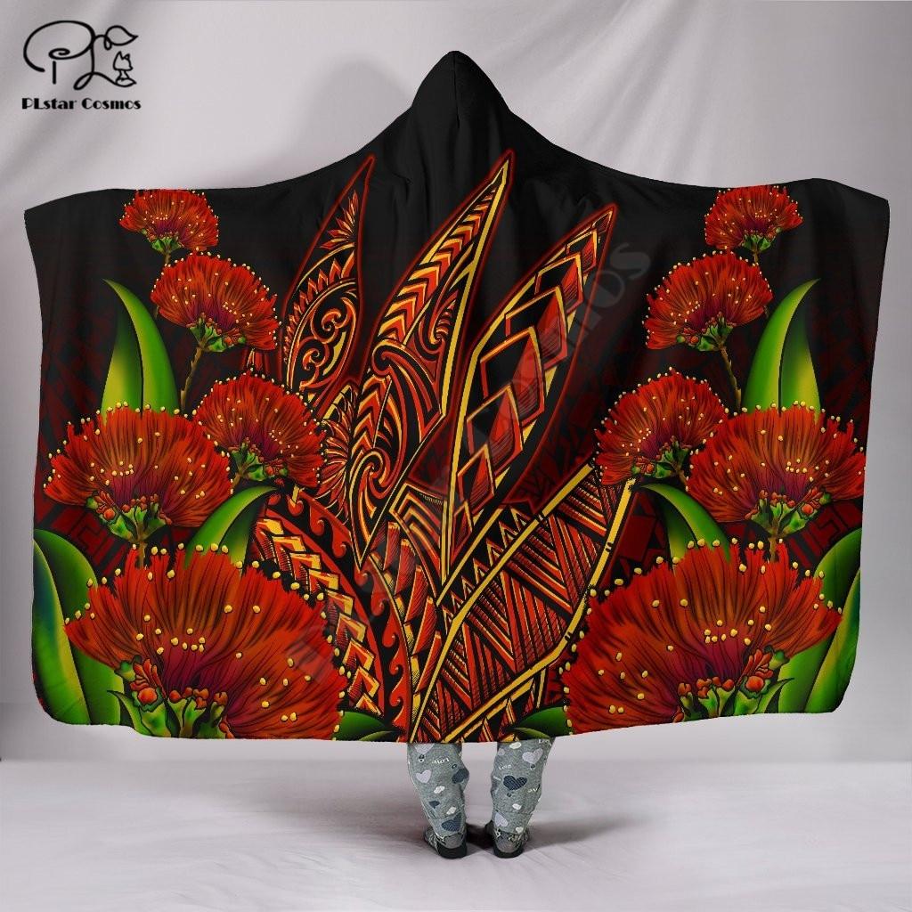 أوهيا ليهوا بولينيزيا هاواي نمط مقنعين بطانية ثلاثية الأبعاد الطباعة الكاملة لبس بطانية الكبار الرجال النساء بطانية