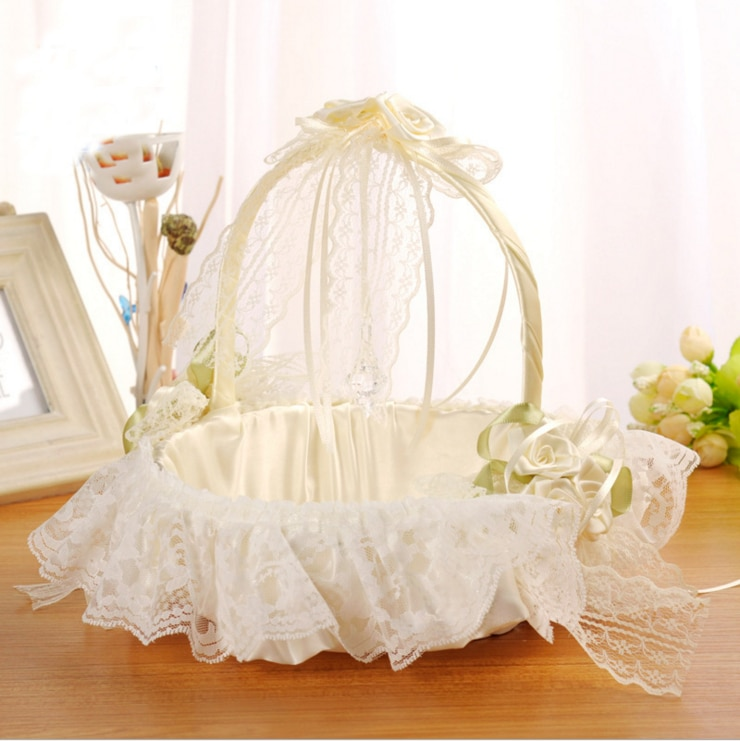Nueva cesta de boda para niñas, decoración de encaje, boda, fiesta, ceremonia, uso marfil, flor, niña, cesta con lazo, Blanco sólido 2020