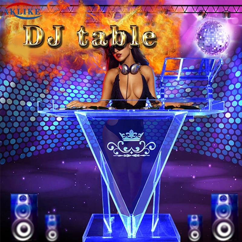 Diodo emissor de luz cabine dj mesa para luz dj suporte fachada mixer aklike controlador acrílico dj cabine barra móveis mesa logotipo personalizado