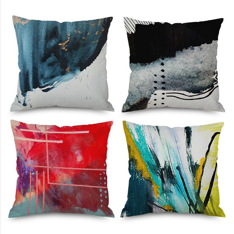 Estilo nórdico personalizado Graffiti geométrico decorativo sofá tiro almohadas tinta pintura arte abstracto silla cojín para oficina
